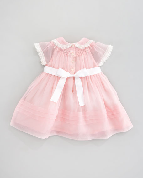 Smocked Silk Dress, Pink Patina