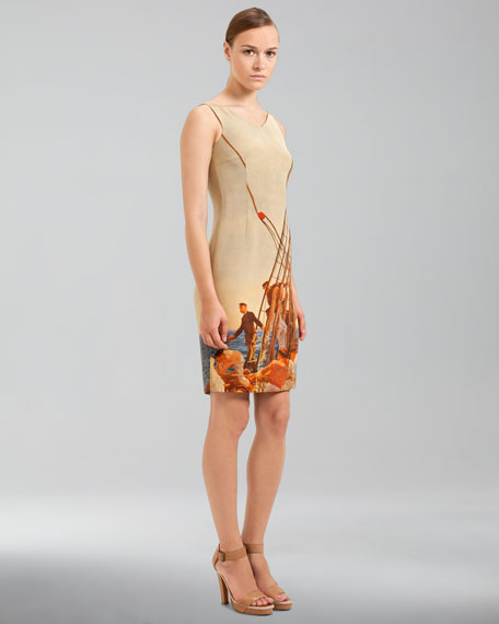 Price Albert Print Silk Crepe Sheath Dress