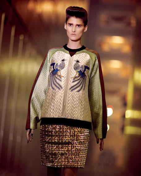 Bird-Embroidered Sweatshirt