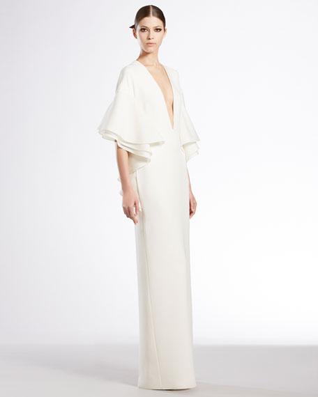 Silk Cady Flounce Gown