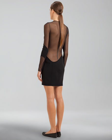 Long-Sleeve Sheer Inset Dress, Black
