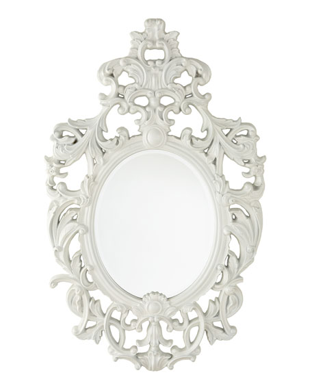 """Lily"" White Baroque Mirror"