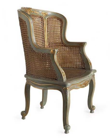 Antiqued Cane Armchair