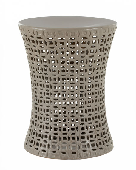 Gray Basketweave Garden Seat