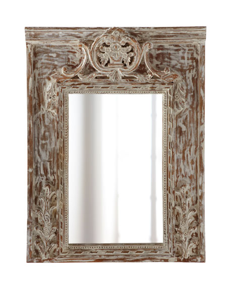 Brushed-White Wood Mirror