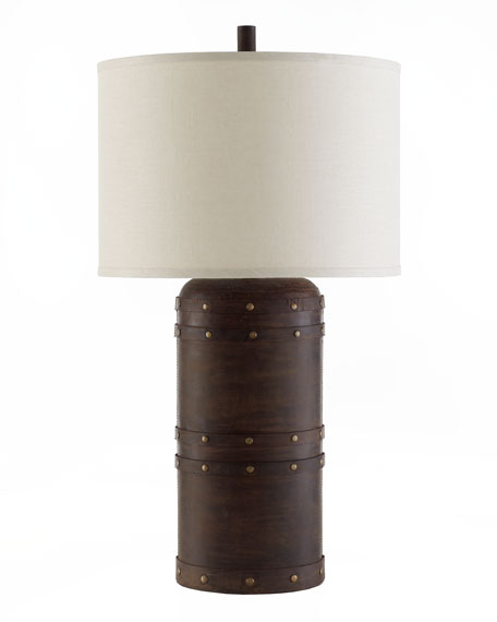 Leather Barrel Table Lamp