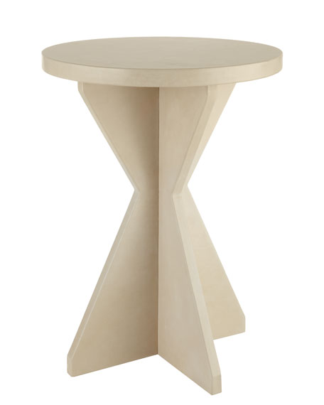 """Jaryn"" Leather X-Base Side Table"