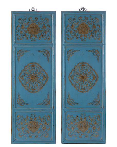 Two Gold & Blue Wall Panels