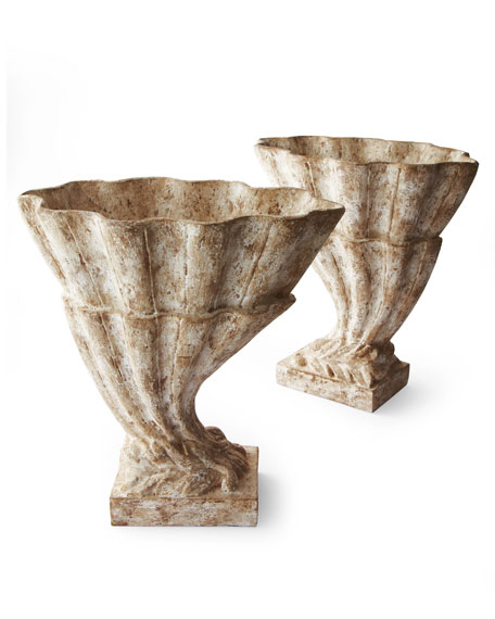 "Two ""Carved Shell"" Table Planters"