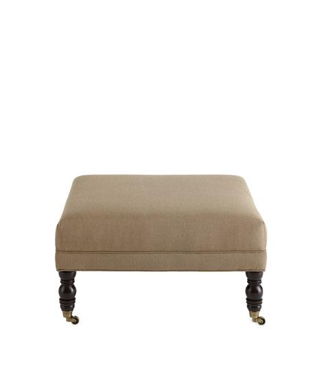 Square Linen Ottoman