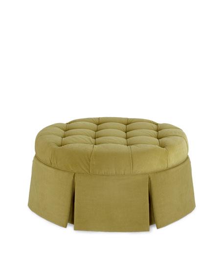 Round Velvet Ottoman