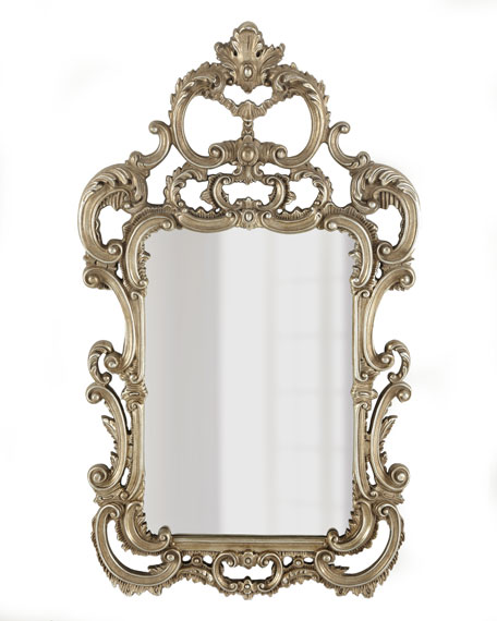 Silvery Baroque-Style Mirror