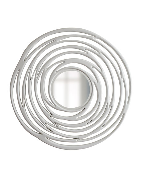 Abstract White Circular Mirror