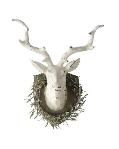 """""""Joyeux Noel"""" Deer with Rosemary Wreath"""