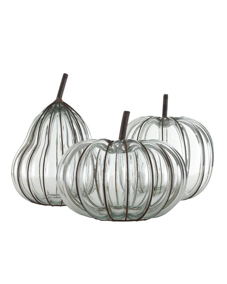 Three Glass & Metal Pumpkins