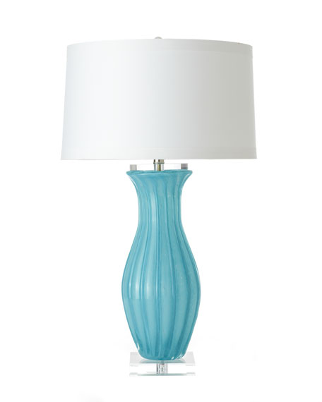 Aqua Fluted-Glass Table Lamp