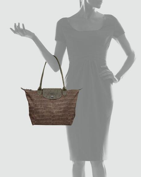Le Pliage Croco-Print Shoulder Tote Bag, Medium