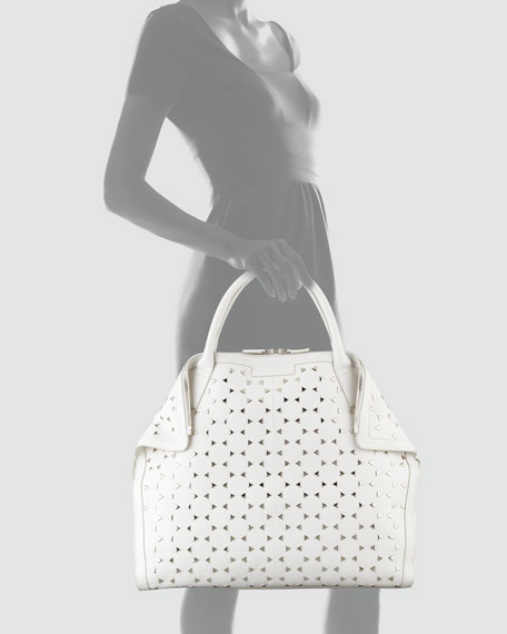 De-Manta Large Studded Tote Bag, White