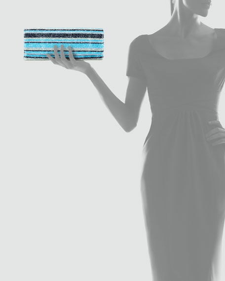 Long Stripe-Beaded Clutch Bag, Turquoise
