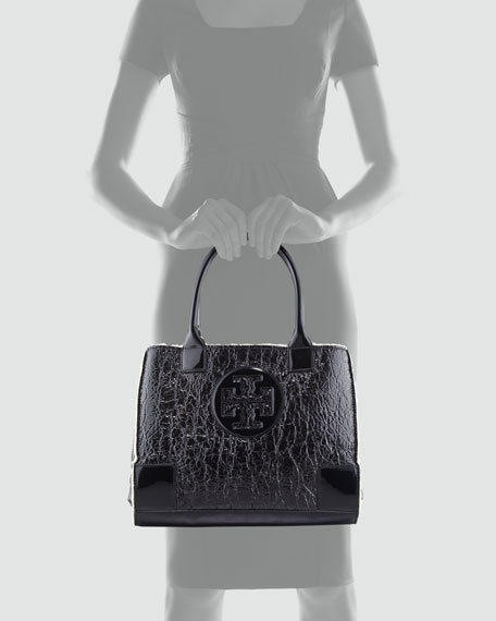 Ella Mini Crinkled Tote Bag, Black