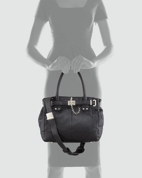 Zoe Belted Mini Tote Bag, Black
