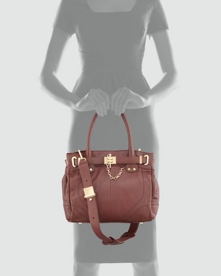 Zoe Belted Mini Tote Bag, Merlot