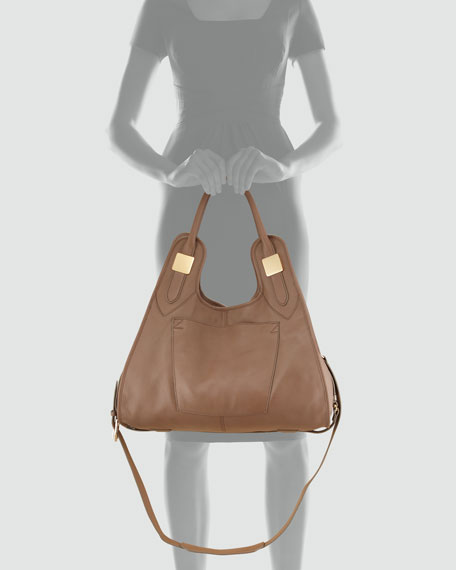 Lucas Medium Pebble Leather Shopper Bag, Tapioca