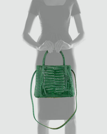 Crocodile Box Small Tote Bag, Kelly Green