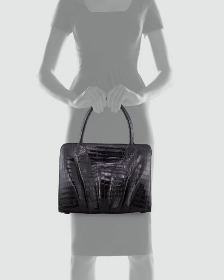 Crocodile Ruched Large Frame Tote Bag