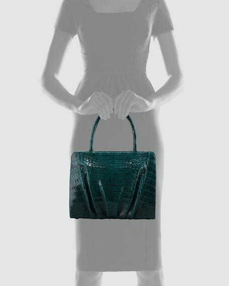 Crocodile Ruched Small Tote Bag