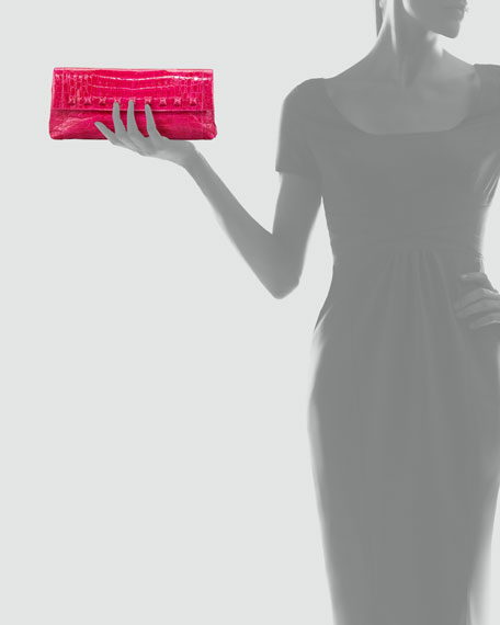 Stud-Flap Crocodile Clutch Bag