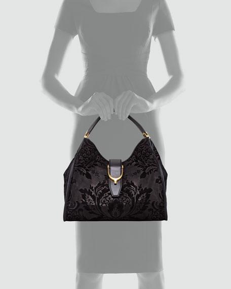 Soft Stirrup Brocade Medium Hobo Bag, Black
