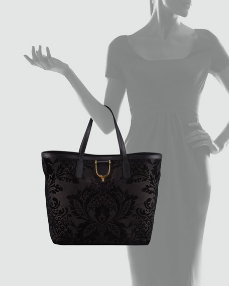 Damask Leather Stirrup Tote Bag