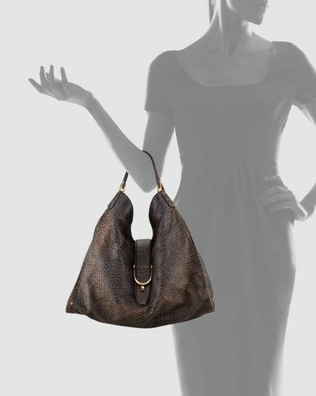Soft Stirrup Grainy Leather Shoulder Bag