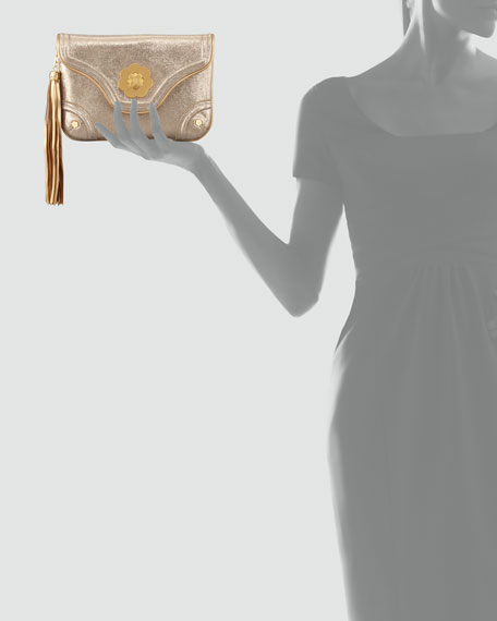 Metallic Mini Clutch Bag, Gold