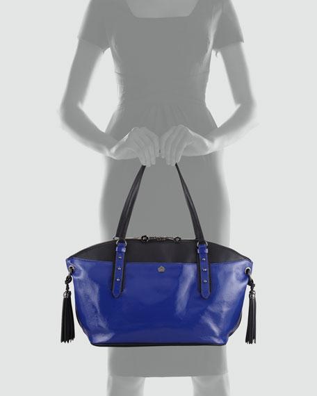 Bond Patent Tassel Satchel Bag, Royal/Black