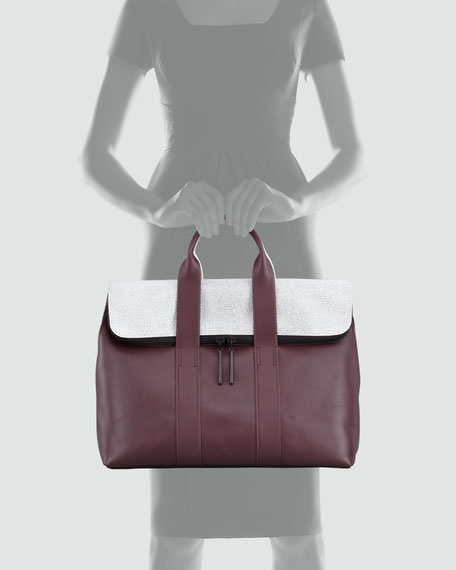 31 Hour Fold-Over Tote Bag, Bordeaux/Black/White