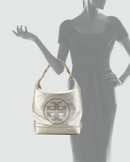 New Perforated-Logo Leather Hobo Bag, Platinum