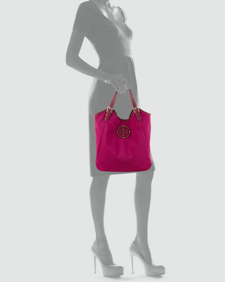 Logo Tech-Fabric Small Slouchy Tote Bag, Party Fuchsia