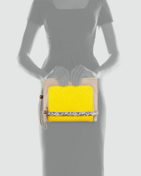 Tina Tech Clutch Bag, Putty/Yellow