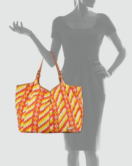 Playa Caribe Jute Shopper, Orange