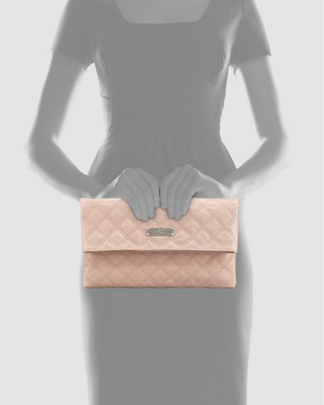 Eugenie Baroque Quilted Leather Clutch Bag, Blush