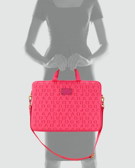 Dreamy Logo Neoprene Commuter Laptop Bag, Pop Pink