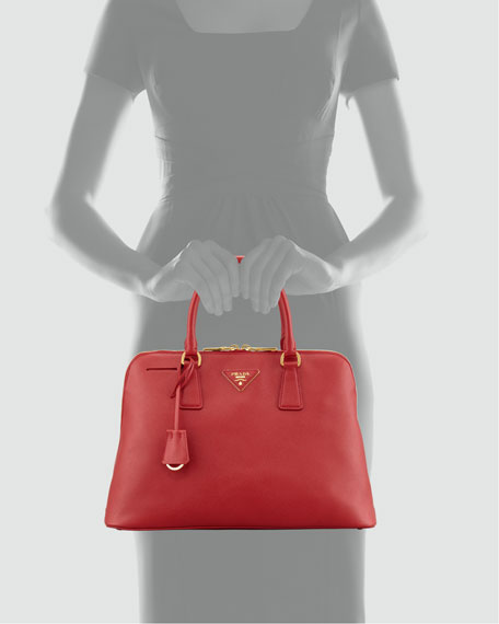Saffiano Promenade Lux Handbag, Red