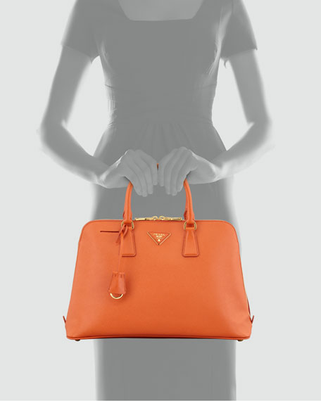Large Saffiano Lux Bugatti Tote Bag, Papaya Orange