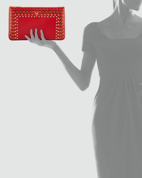 Saffiano Vernice Clutch Bag, Rosso