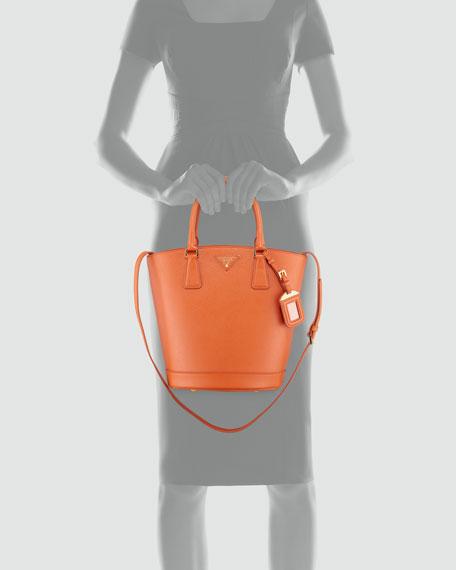 Saffiano Lux Medium Bucket Bag, Papaya Orange