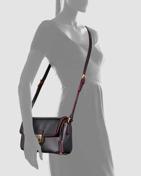 Spazzolato Small Flap Crossbody Bag, Black/Red