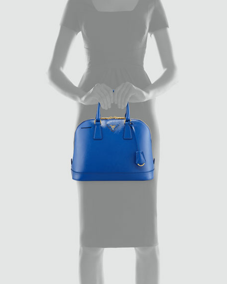 Saffiano Promenade Handbag, Bright Royal Blue