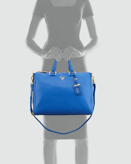 Vitello Daino Zip-Top Satchel Bag, Bright Royal Blue